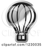Clipart Of A Silver Hot Air Balloon Icon Royalty Free Vector Illustration by Lal Perera