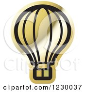 Clipart Of A Golden Hot Air Balloon Icon Royalty Free Vector Illustration by Lal Perera