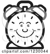 Clipart Of A Happy Black And White Alarm Clock Icon Royalty Free Vector Illustration by Lal Perera