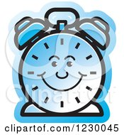 Clipart Of A Happy Blue Alarm Clock Icon Royalty Free Vector Illustration by Lal Perera