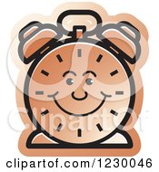 Clipart Of A Happy Brown Alarm Clock Icon Royalty Free Vector Illustration by Lal Perera