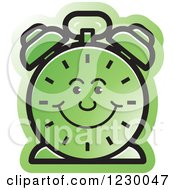 Clipart Of A Happy Green Alarm Clock Icon Royalty Free Vector Illustration by Lal Perera