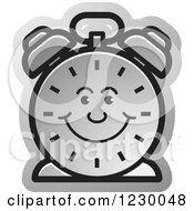 Clipart Of A Happy Silver Alarm Clock Icon Royalty Free Vector Illustration by Lal Perera