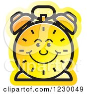 Clipart Of A Happy Yellow Alarm Clock Icon Royalty Free Vector Illustration by Lal Perera