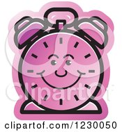 Clipart Of A Happy Purple Alarm Clock Icon Royalty Free Vector Illustration by Lal Perera