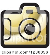 Clipart Of A Golden Camera Icon Royalty Free Vector Illustration
