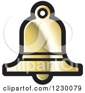 Clipart Of A Golden Bell Icon Royalty Free Vector Illustration by Lal Perera