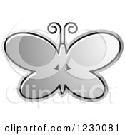 Clipart Of A Silver Butterfly Icon Royalty Free Vector Illustration