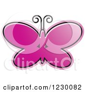 Clipart Of A Purple Butterfly Icon Royalty Free Vector Illustration