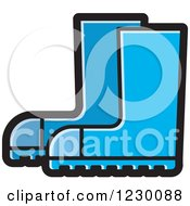 Clipart Of A Blue Rubber Boots Icon Royalty Free Vector Illustration