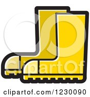 Clipart Of A Yellow Rubber Boots Icon Royalty Free Vector Illustration