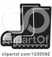 Clipart Of A Grayscale Rubber Boots Icon Royalty Free Vector Illustration