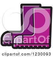 Clipart Of A Purple Rubber Boots Icon Royalty Free Vector Illustration