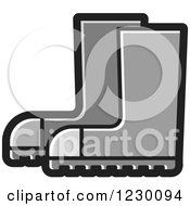 Clipart Of A Gray Rubber Boots Icon Royalty Free Vector Illustration