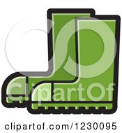 Clipart Of A Green Rubber Boots Icon Royalty Free Vector Illustration