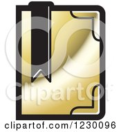 Clipart Of A Golden Book With A Bookmark Icon Royalty Free Vector Illustration