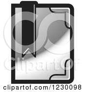 Clipart Of A Silver Book With A Bookmark Icon Royalty Free Vector Illustration