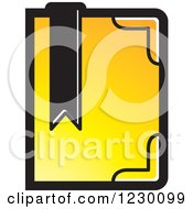 Clipart Of A Yellow Book With A Bookmark Icon Royalty Free Vector Illustration