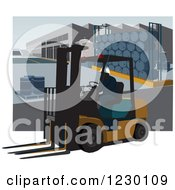 Clipart Of A Man Operating A Forklift In A Warehouse With Drums Royalty Free Vector Illustration by David Rey