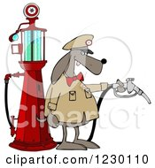 Clipart Of A Dog Attendant By An Old Fashioned Gas Pump Royalty Free Illustration