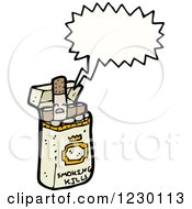 Clipart Of A Talking Cigarette Box Royalty Free Vector Illustration