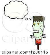 Clipart Of A Thinking Decapitated Zombie Head Royalty Free Vector Illustration by lineartestpilot