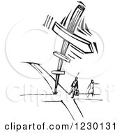 Clipart Of A Black And White Woodcut Couple At A Crossroads Royalty Free Vector Illustration