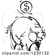 Clipart Of A Black And White Woodcut Piggy Bank With A Dollar Coin Royalty Free Vector Illustration