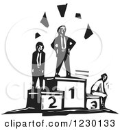 Clipart Of Black And White Woodcut Businessmen On Contest Podiums Royalty Free Vector Illustration