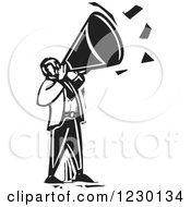 Clipart Of A Black And White Woodcut Man Announcing With A Megaphone Royalty Free Vector Illustration