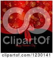 Clipart Of A Happy Valentines Day Greeting With Heart And Star Bokeh And A Gift Bow Royalty Free Vector Illustration