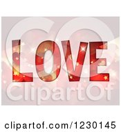 Clipart Of The Word LOVE Wiht Flares And Stars Royalty Free Vector Illustration