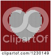 Clipart Of A White Knitted Heart And Red Wool Royalty Free Vector Illustration