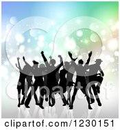 Clipart Of Silhouetted People Dancing Over Gradient And Flares Royalty Free Vector Illustration