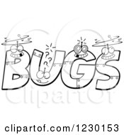 Clipart Of Black And White Robot Letters Forming The Word BUGS Royalty Free Vector Illustration