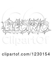 Clipart Of Black And White Robot Letters Forming The Word ELECTRIC Royalty Free Vector Illustration