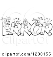 Clipart Of Black And White Robot Letters Forming The Word ERROR Royalty Free Vector Illustration