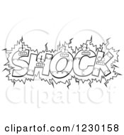 Clipart Of Black And White Robot Letters Forming The Word SHOCK Royalty Free Vector Illustration