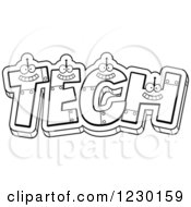 Clipart Of Black And White Robot Letters Forming The Word TECH Royalty Free Vector Illustration