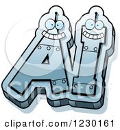 Clipart Of Robot Letters Forming AI Royalty Free Vector Illustration by Cory Thoman