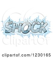 Clipart Of Robot Letters Forming The Word SHOCK Royalty Free Vector Illustration