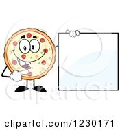 Clipart Of A Pizza Pie Mascot Standing With A Sign Royalty Free Vector Illustration