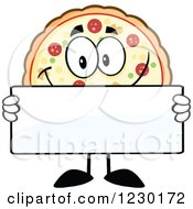 Clipart Of A Pizza Pie Mascot Holding A Sign Royalty Free Vector Illustration