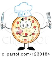 Clipart Of A Hungy Chef Pizza Pie Mascot With Silverware Royalty Free Vector Illustration