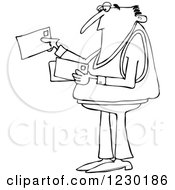 Clipart Of A Black And White Man Looking At Letter Mail Envelopes Royalty Free Vector Illustration