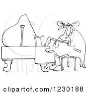 Clipart Of A Black And White Pianist Moose Playing Music Royalty Free Vector Illustration by djart