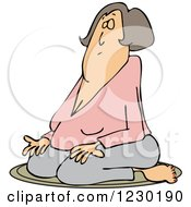 Clipart Of A White Woman Meditating In The Lotus Pose Royalty Free Vector Illustration