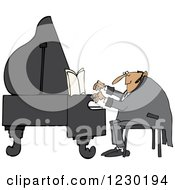 Clipart Of A White Pianist Man Playing Music Royalty Free Vector Illustration