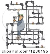 Clipart Of A White Man Plumber Hanging From A Pipe Maze Royalty Free Vector Illustration by Dennis Cox