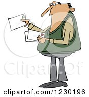 Clipart Of A White Man Looking At Letter Mail Envelopes Royalty Free Vector Illustration